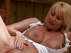 naughty golden-haired momma with big bosom in