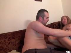 grandma acquires her hairy cunt fingered and