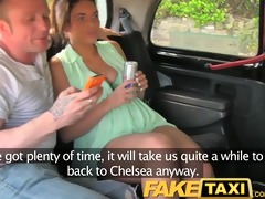faketaxi enjoyment time pair in backseat taxi
