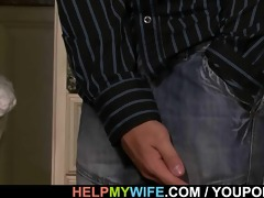 old hubby watches a lad bangs his young wife