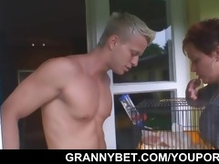 beautiful neighbor granny acquires team-fucked by