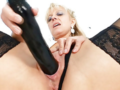 old blond milf stuffing bawdy cleft with biggest