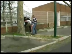 syvlie fucked in the street by 4 boys
