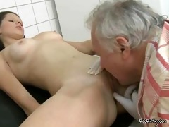 old doctor licks youthful brunettes snatch