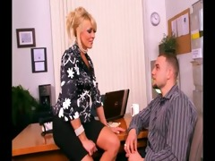 breasty golden-haired cougar gangbanged in office
