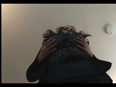 breasty mature dark brown secretary in hose