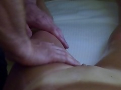 young stepmom getting massage and drilled