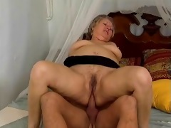 thick grey old lady acquires her butt drilled