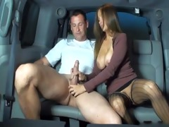 wife gives cook jerking in backseat