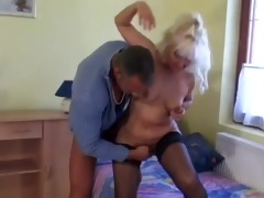 hawt golden-haired euro granny assbanged in nylons