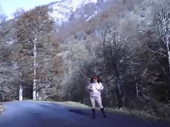 brenda in nature on a mountain road