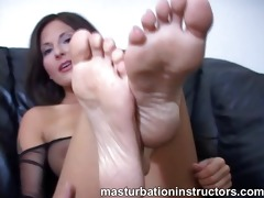 jerk off instructor shows off her feet for
