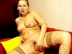 russian mamma bonks her shaggy fur pie with toy