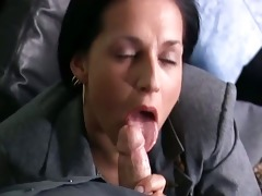 excited dark brown mother i secretary receives