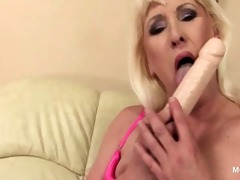lonely blond older using her favourite fake penis
