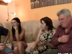 his gf is enticed by old mama and screwed by old