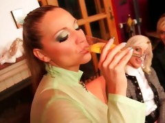 dressed lesbian babes acquire ribald in wam 3some