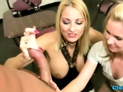 milf and teen tugging hard rod together