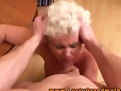 breasty blond gilf granny drools on dick