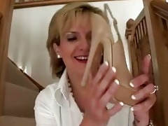 mature femdom brit shoe posing nude