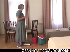 cleaning woman receives her pussy filled