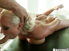 beautiful blonde diana engulfing her masseurs
