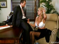 busty boss sucks wang in her office