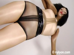 gia in nylon encasement - hose inside vagina