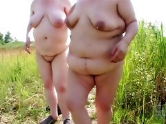 two obese aged lesbian babes