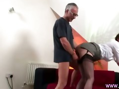 older lad copulates older woman in suspenders and