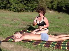 brunette hair bbw-milf outdoors by youthful boy