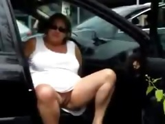 mama fingering bawdy cleft in the car