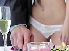 sexy wife greets with suprise