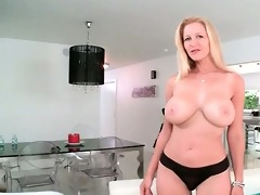blond mama in large breasts flashing pierced
