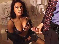erica bella receive drilled in the lavatory