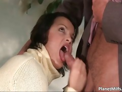 breasty brunette lady sucks that is knob part1