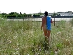 french aged whore showing nude near motorway.