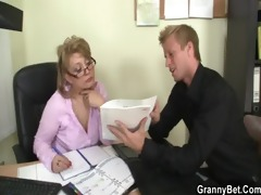 sexy office sex with older wench