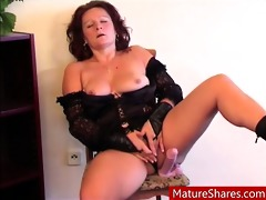 old aunty plays with herself