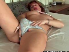 aged redheaded mama masturbates with sex toys