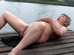 granny is masturbating outdoors