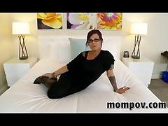 brunette oral stimulation instructor taking dong