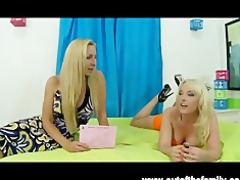 golden-haired british mother i teaches daughter