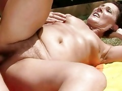 granny getting drilled glamorous hard outdoor