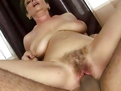 granny receives her bushy slit drilled