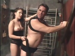 dark brown dominates her boyfriend with whip and