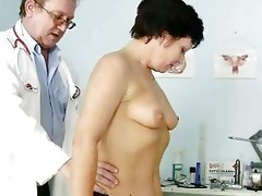 aged woman eva visits gyno doctor to receive gyno