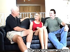 leggy golden-haired wife team-fucked