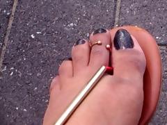 dangling feet in flats
