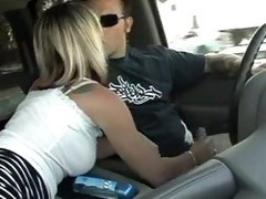german golden-haired wife oiled car tugjob
